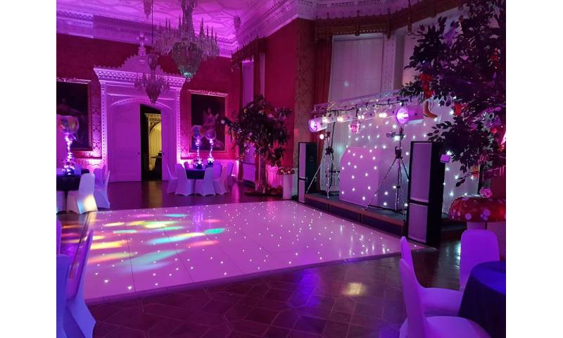 White Gold Rig with mirrorball, Starlit dance floor and uplighters 1.jpg