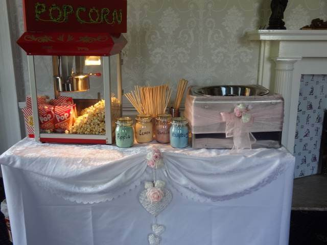 Popcorn and Candyfloss supplied for a wedding at the Waterton Park Hotel