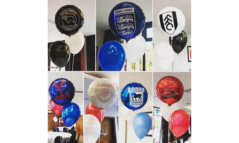Football Themed Balloon Cluster Centrepieces in Hertfordshire, Bedfordshire, Essex & surrounding areas.