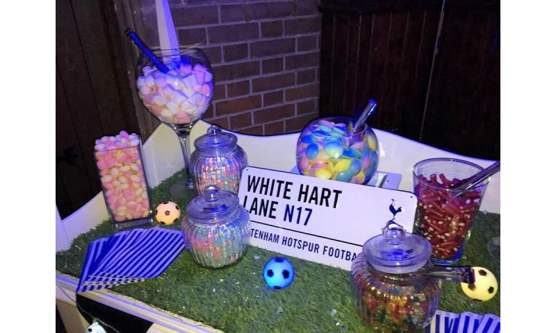 Football themed Candy Cart hire in Hertfordshire, Bedfordshire, Essex & surrounding areas.