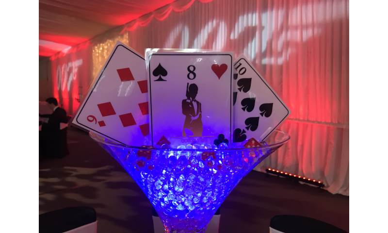 Casino Themed Centrepiece hire in Hertfordshire, Bedfordshire, Essex & surrounding areas.