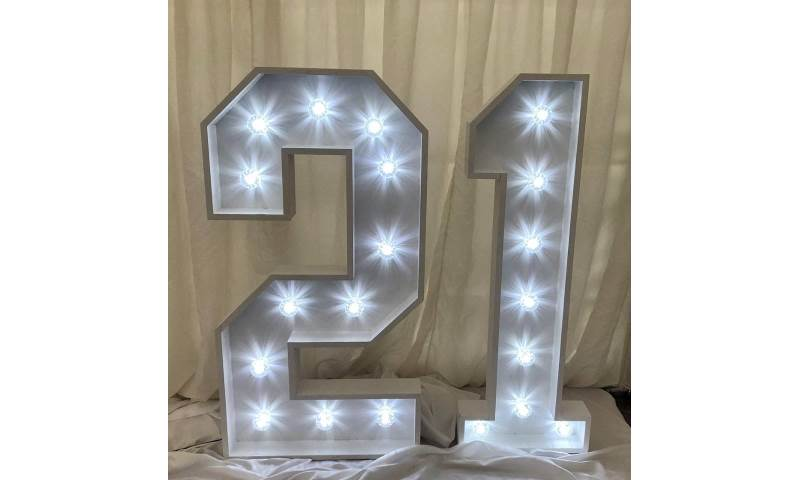 4ft Light Up '21'Number hire in Hertfordshire, Bedfordshire, Essex & surrounding areas.