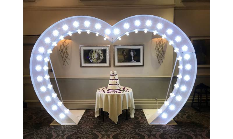 Light Up Heart Arch available to hire in Hertfordshire, Bedfordshire, Essex & London