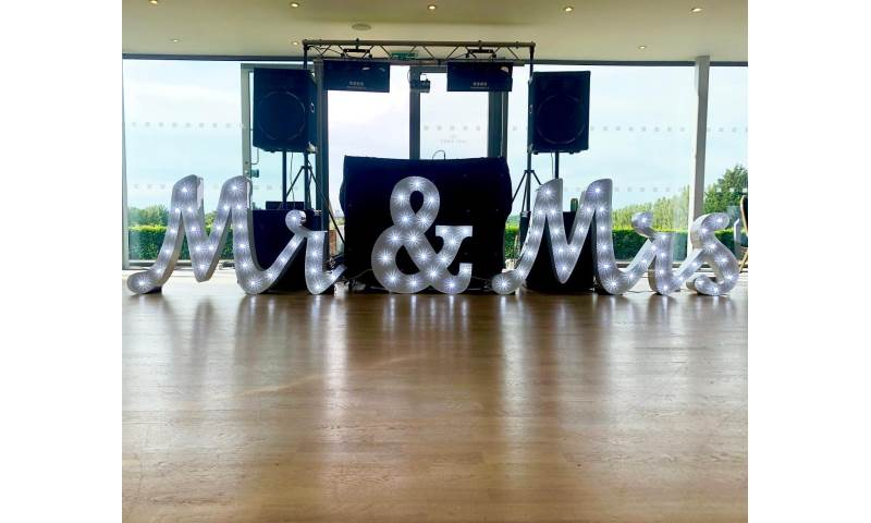 Light Up 'Mr & Mrs' Letter Hire in Hertfordshire, Essex, Bedfordshire & surrounding areas