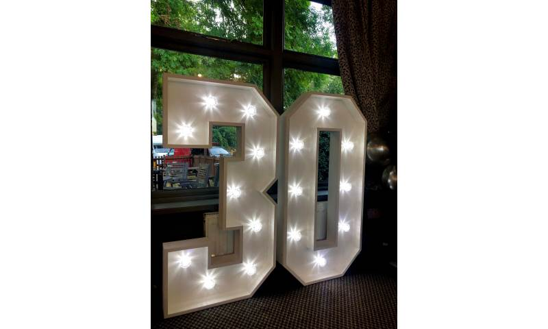 Light Up Number Hire in Hertfordshire, Essex, Bedfordshire & surrounding areas. Perfect for all birthdays, birthdays, weddings, Proms and many more