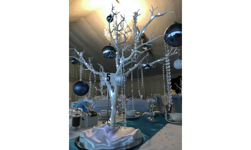 Winter Wonderland table centrepiece hire in Hertfordshire, Bedfordshire, Essex & surrounding areas. Perfect for birthdays or corporate events