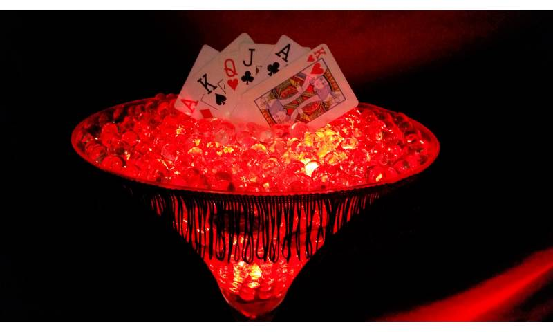 Casino Themed Table Centrepiece hire in Hertfordshire, Bedfordshire, Essex & surrounding areas.