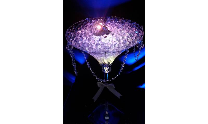 Diamante Themed Martini Glass Centrepiece hire in Hertfordshire, Bedfordshire, Essex & surrounding areas. Perfect for weddings, birthdays & corporate events
