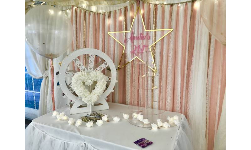 Cake table or feature table decor hire in Hertfordshire, Bedfordshire, Essex & surrounding areas. Perfect for weddings, birthdays & baby showers
