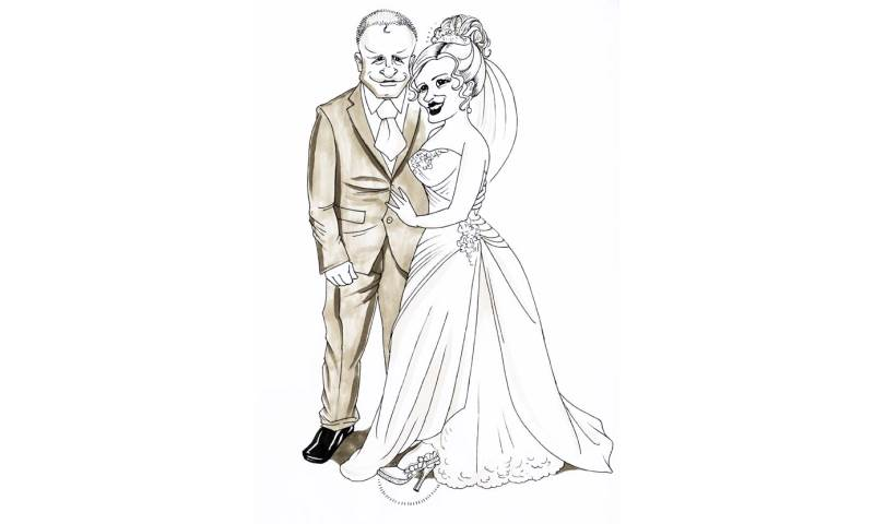 Bride and Groom - Caricature for Wedding Guests to Sign!