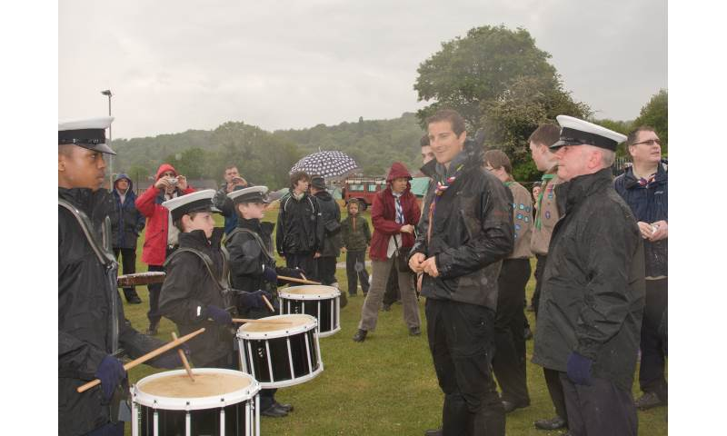 Performing for Chief Scout Bear Grylls