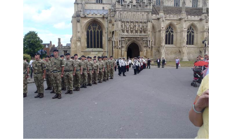 Outside Gloucester Cathedral Ready for the Start of the Armed Forces Day Parade