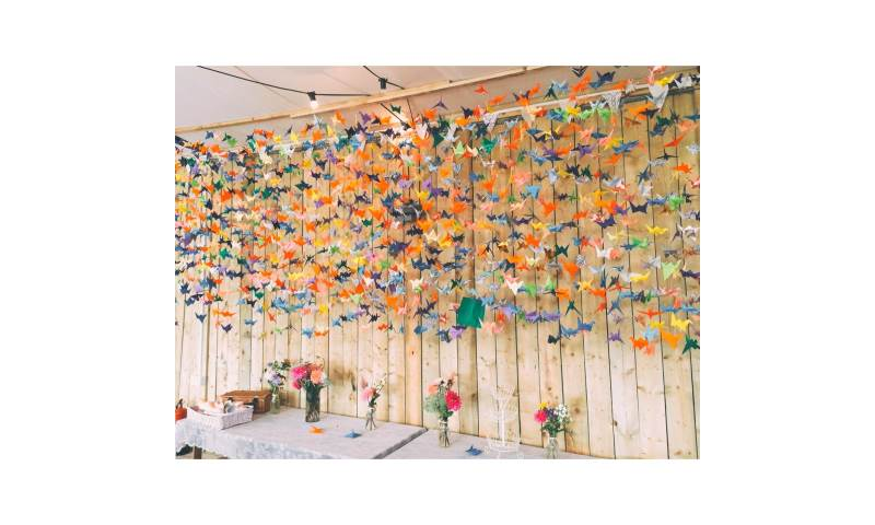 Whimsical Country Wedding Reception Marquee Decor with Origami Theme