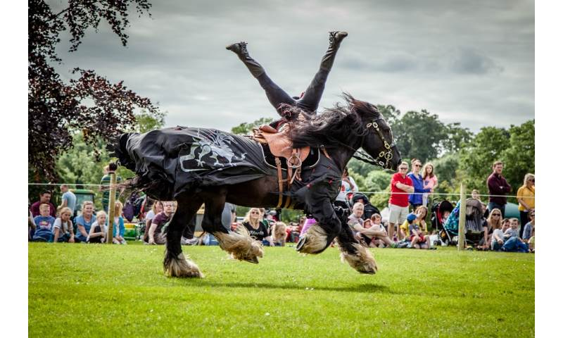 Flavours of Fingal Country Show Dublin Ireland - The Cavalry of Heroes Medieval Jousting Horse Stunt Show - Dark Knight Headstand Scissors Trick Riding Sequence 2.jpg