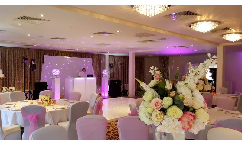 Raithwaite Estate Whitby white wedding package, one of our stunning starlit Led dance floors complete with uplighting and a full white wedding DJ supplied by Disco Dan.