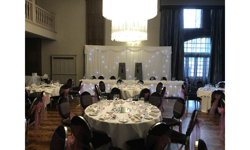 A fabulous wedding at Derwent Manor Hotel in County Durham with one of our Starlit Backdrop, Top Table packages.