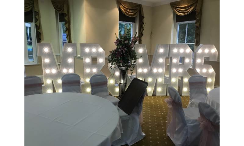 Our Giant Led Mr & Mrs looking fabulous at Solberge Hall Northallerton.