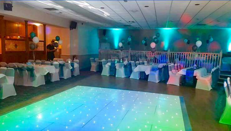 The Demi Consett looked amazing with one of our Starlit Led Dance Floors in for a recent wedding with some fab blue uplighting!!