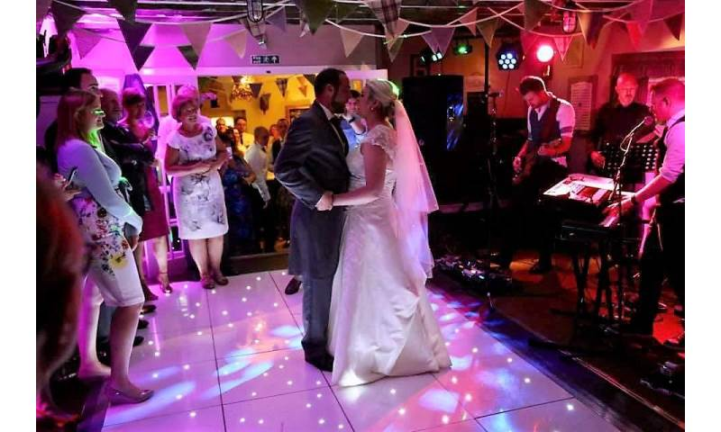 The Black Horse Inn Kirby Fleetham, perfect wedding party with some blush pink uplighting and a Starlit Led dance floor.