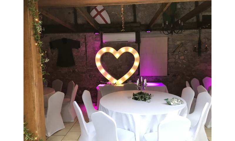 Giant Led Heart fit perfectly in the stunning Walworth Castle Hotel near Darlington