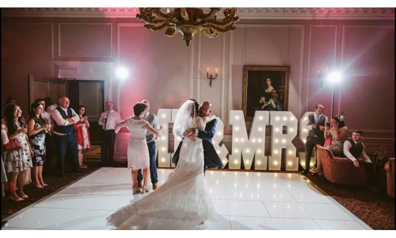 Stunning White Starlit Led dance floor and white giant Mr & Mrs at the gorgeous Crathorne Hall Hotel near Yarm.