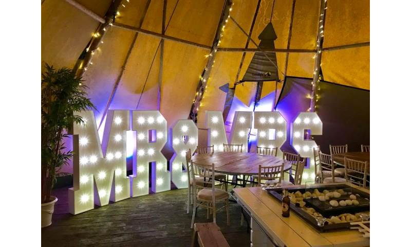 Our Giant Led Mr & Mrs at the award winning Woodhill Hall Otterburn, Northumberland.