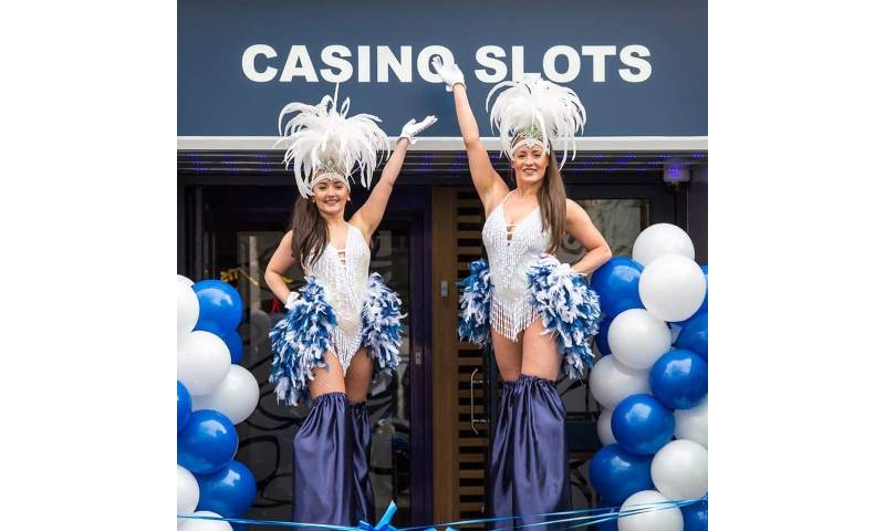 Navy and White Showgirl Stiltwalkers