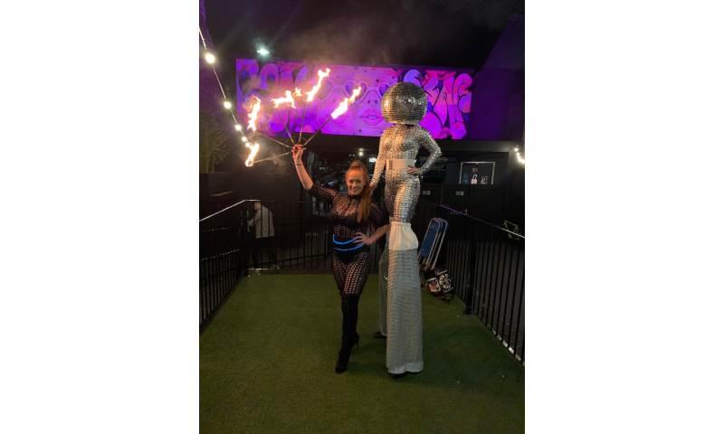 Fire Eater and Mirrorball stilt walker