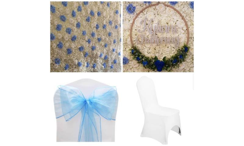 Chair covers and sashes to match our flower wall and a personalised floral hoop