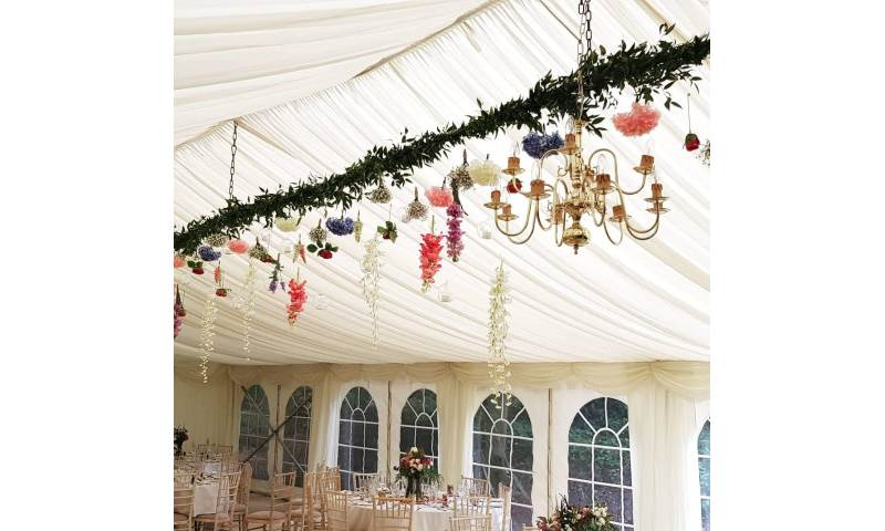 hanging marquee florals