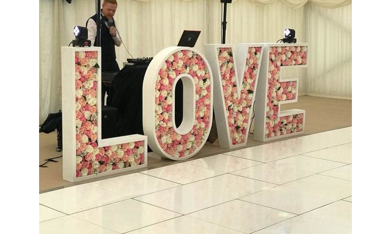 4ft Flower filled LOVE letters - to suit colour scheme
