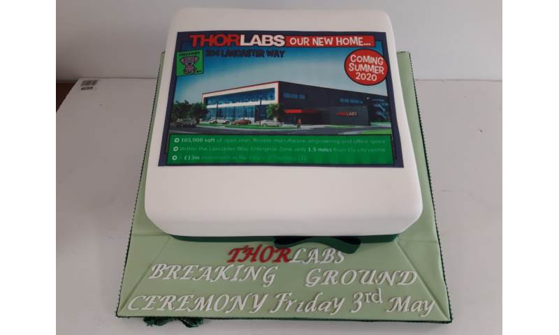 Corporate cake for a local company in Ely Thorlabs breaking ground.